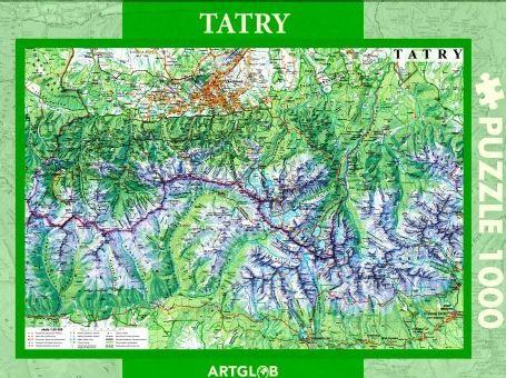Puzzle mapa turystyczna Tatry 1000