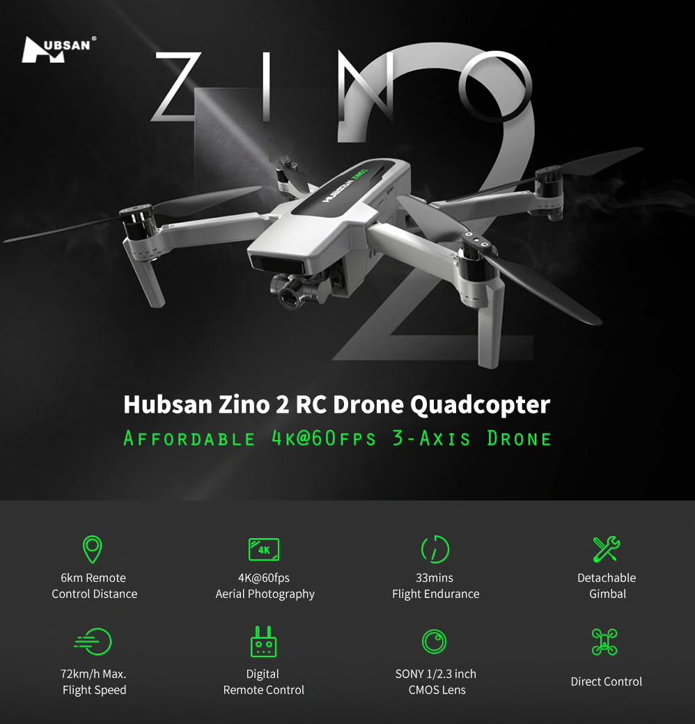 Dron Hubsan Zino 2 8km GPS 4K/60 FPS darmowa wysyłka z Czech @Banggood