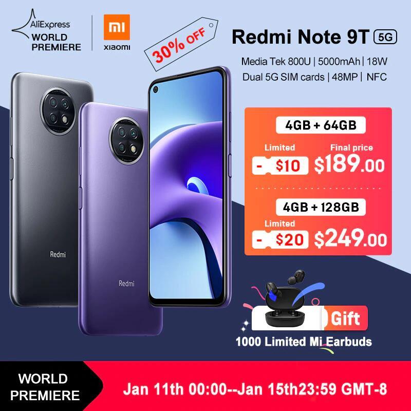 Smartfon Xiaomi Redmi Note 9T 4/64GB 5G za 700zł, 4/128GB za 920zł (możliwy VAT)