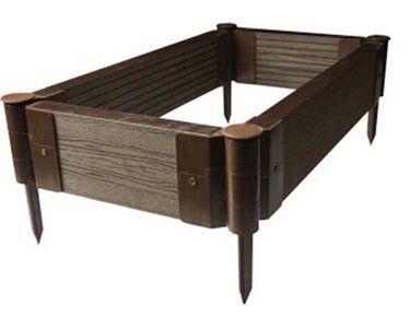 Winfloor Grządka wysoka kompozytowa z strukturą drewna 46 cm x 80 cm x 14 cm
