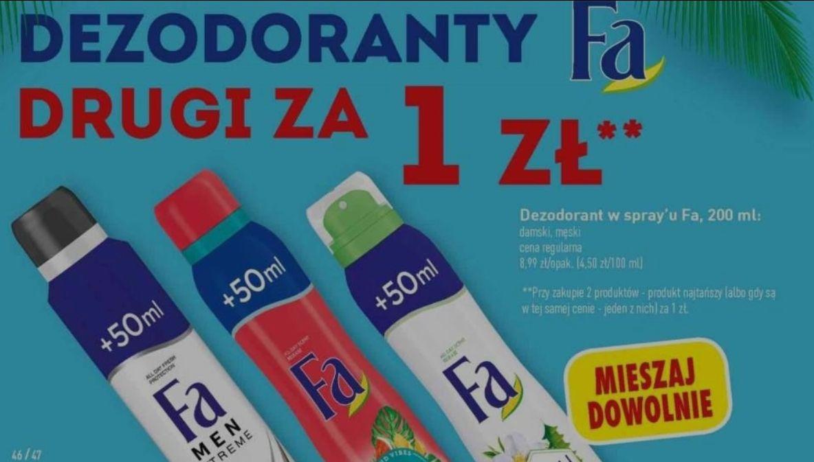 Dezodoranty FA 200ml damskie i męskie - drugi za 1zł (5zł za 1) @ Biedronka