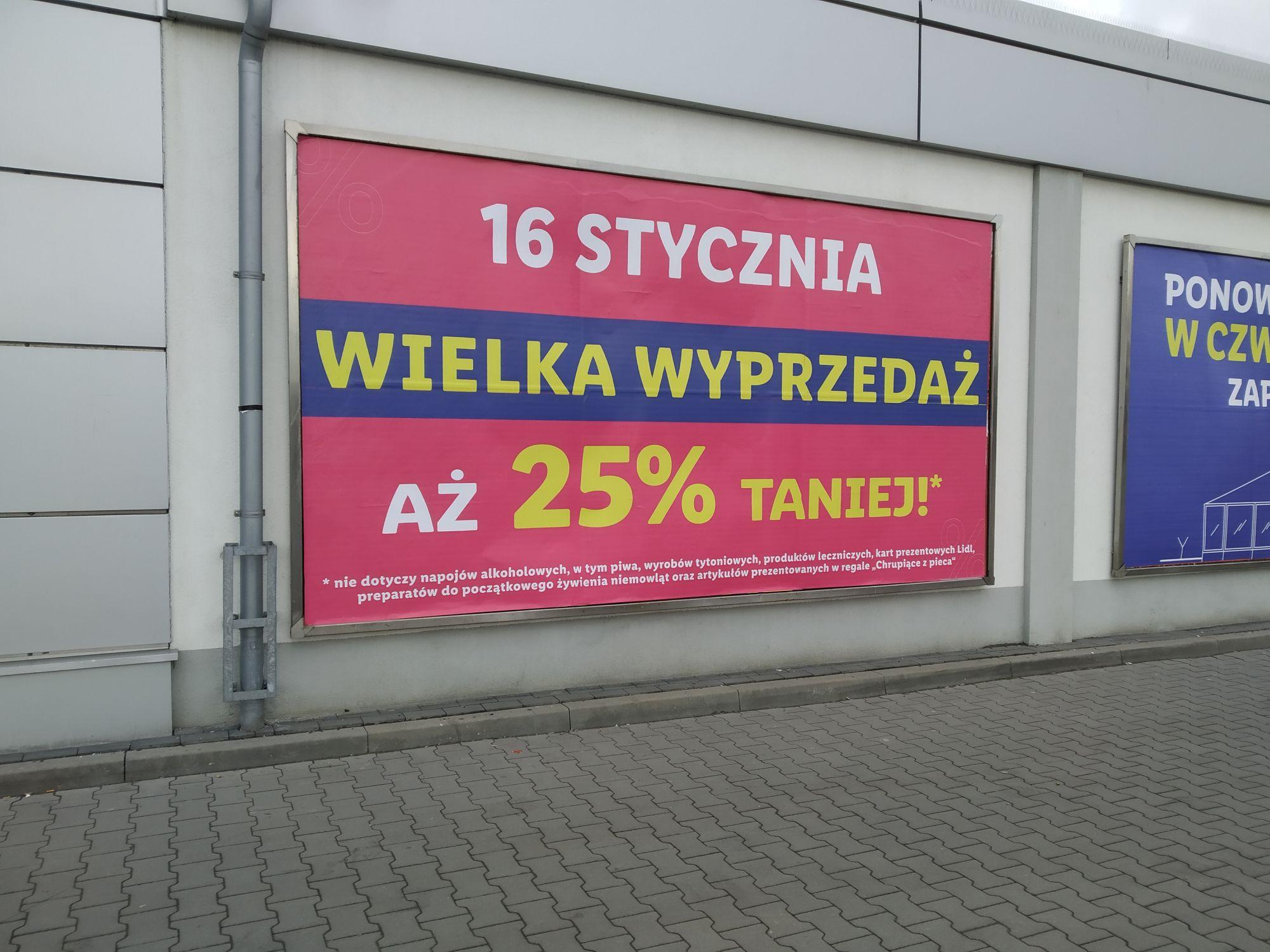 Lidl Kraków, os. Piastów - 16 stycznia wyprzedaż 25% z okazji remontu sklepu