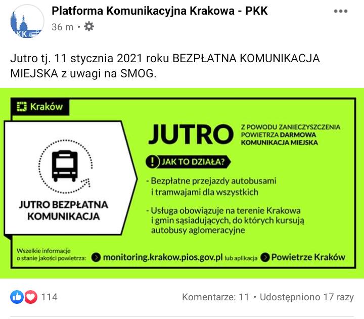 Kraków - Jutro - 11 stycznia 2021 BEZPŁATNA KOMUNIKACJA MIEJSKA.
