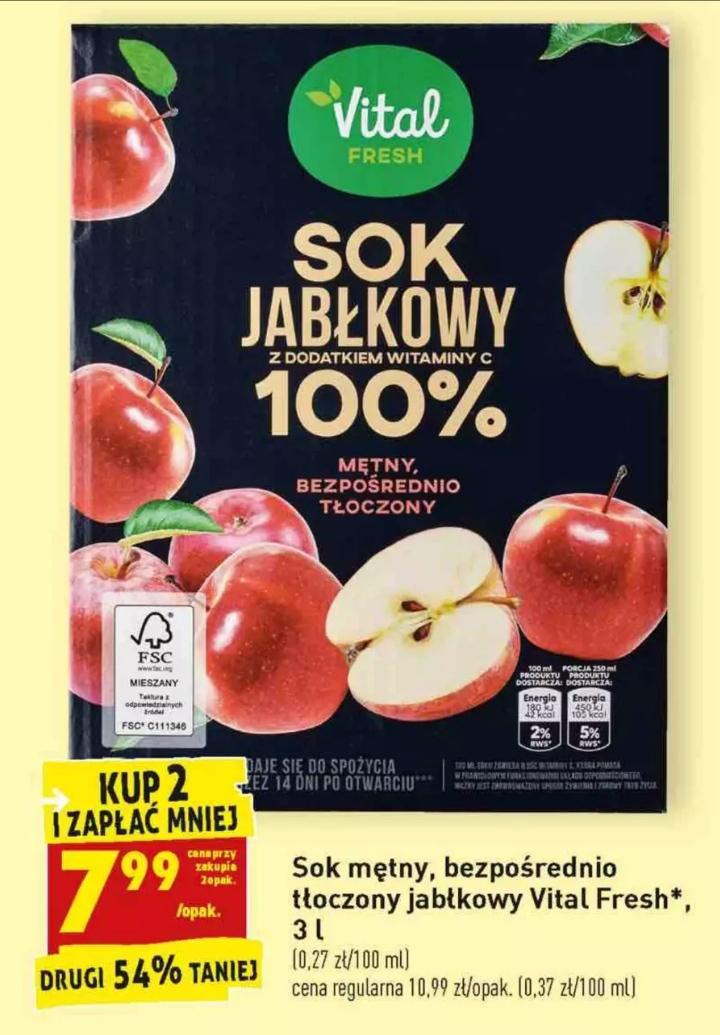Sok Jabłkowy 100% tłoczony Vital Fresh 3L przy zakupie 2szt. i inne soki @Biedronka