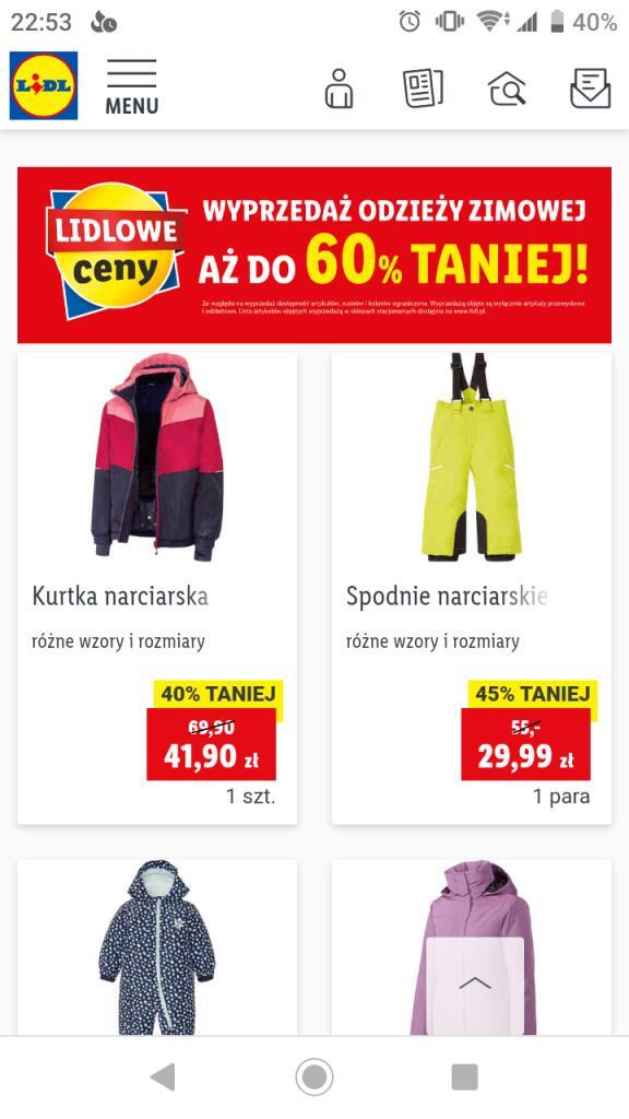Wyprzedaż odzieży zimowej w Lidlu do 60%