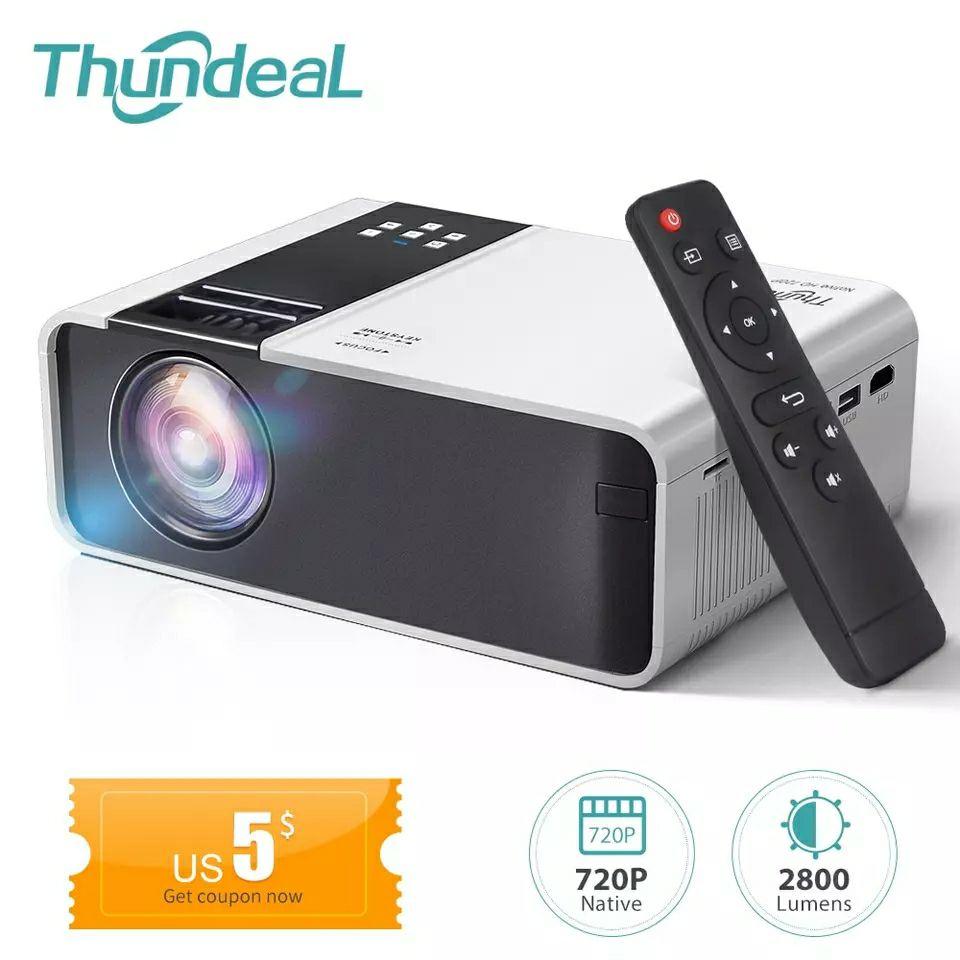 Thundeal-Mini projektor HD TD90, z natywną rozdzielczością 1280x720 P