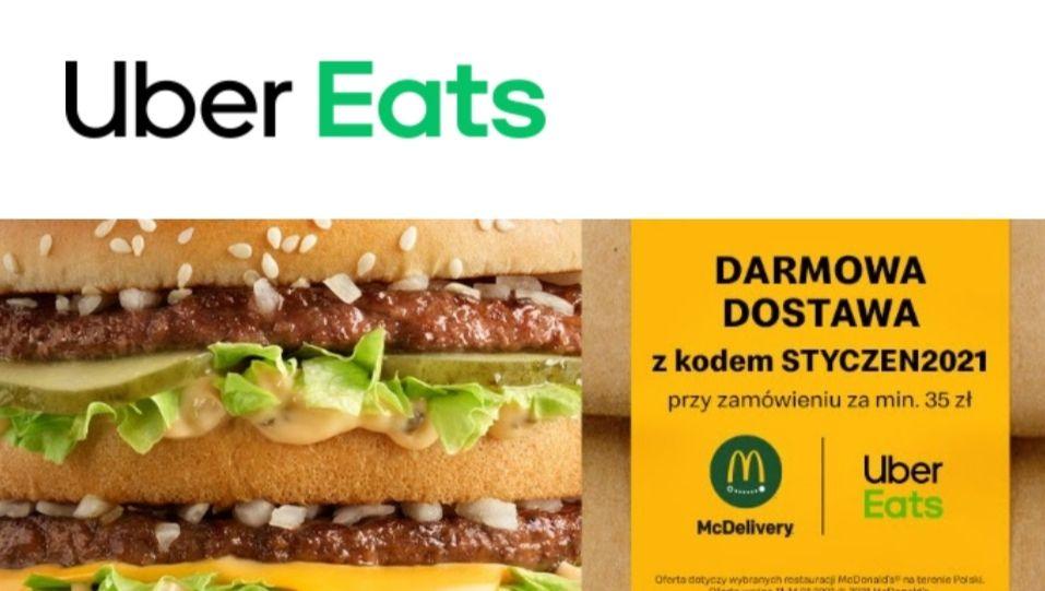 Darmowa dostawa z McDonald's w Uber Eats - MWZ 35 ZŁ