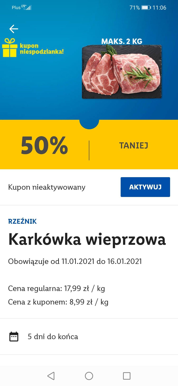 Kupon niespodzianka Lidl Karkówka 50% taniej