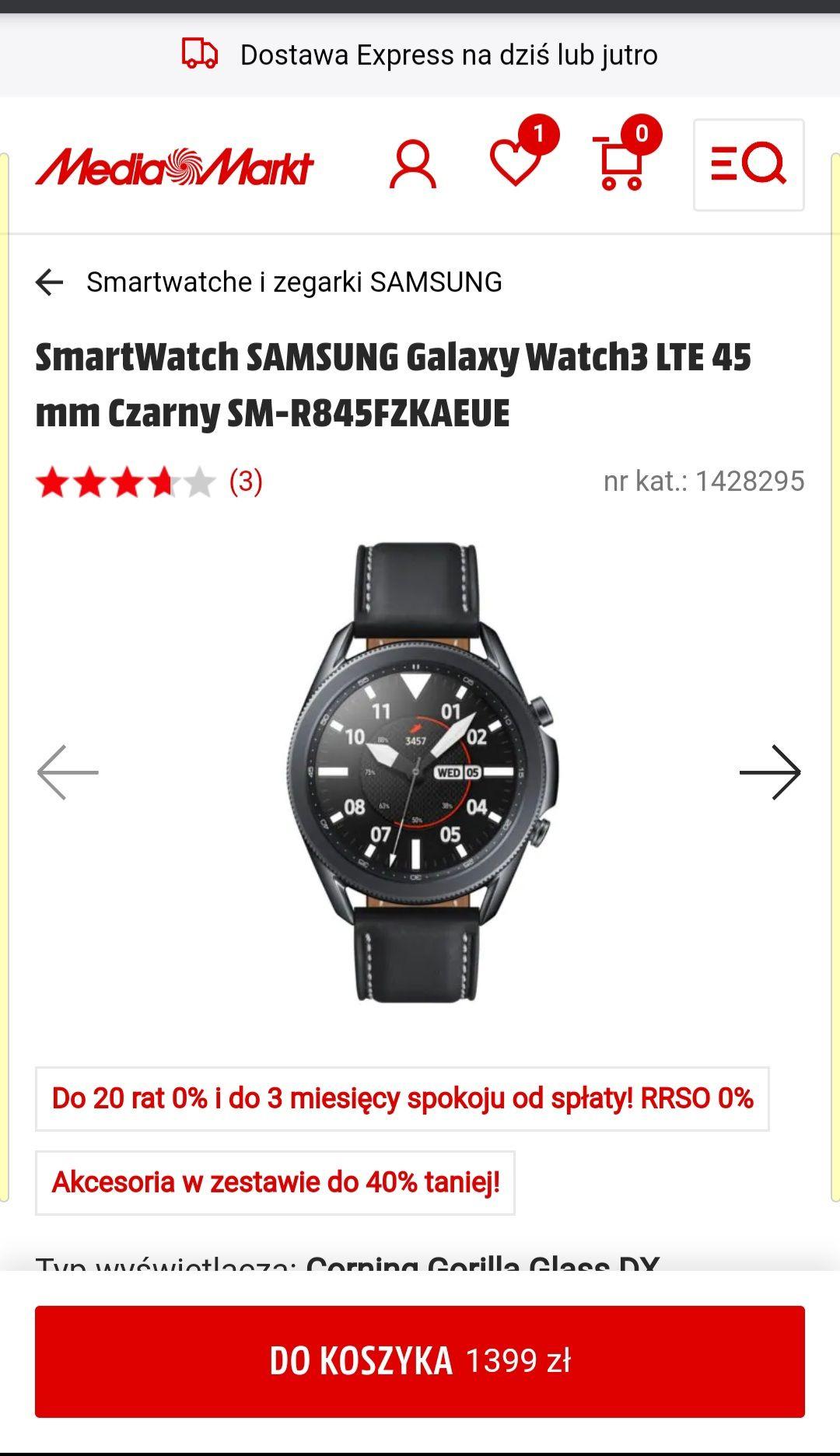 smartwatch Galaxy Watch 3 LTE 45mm Czarny
