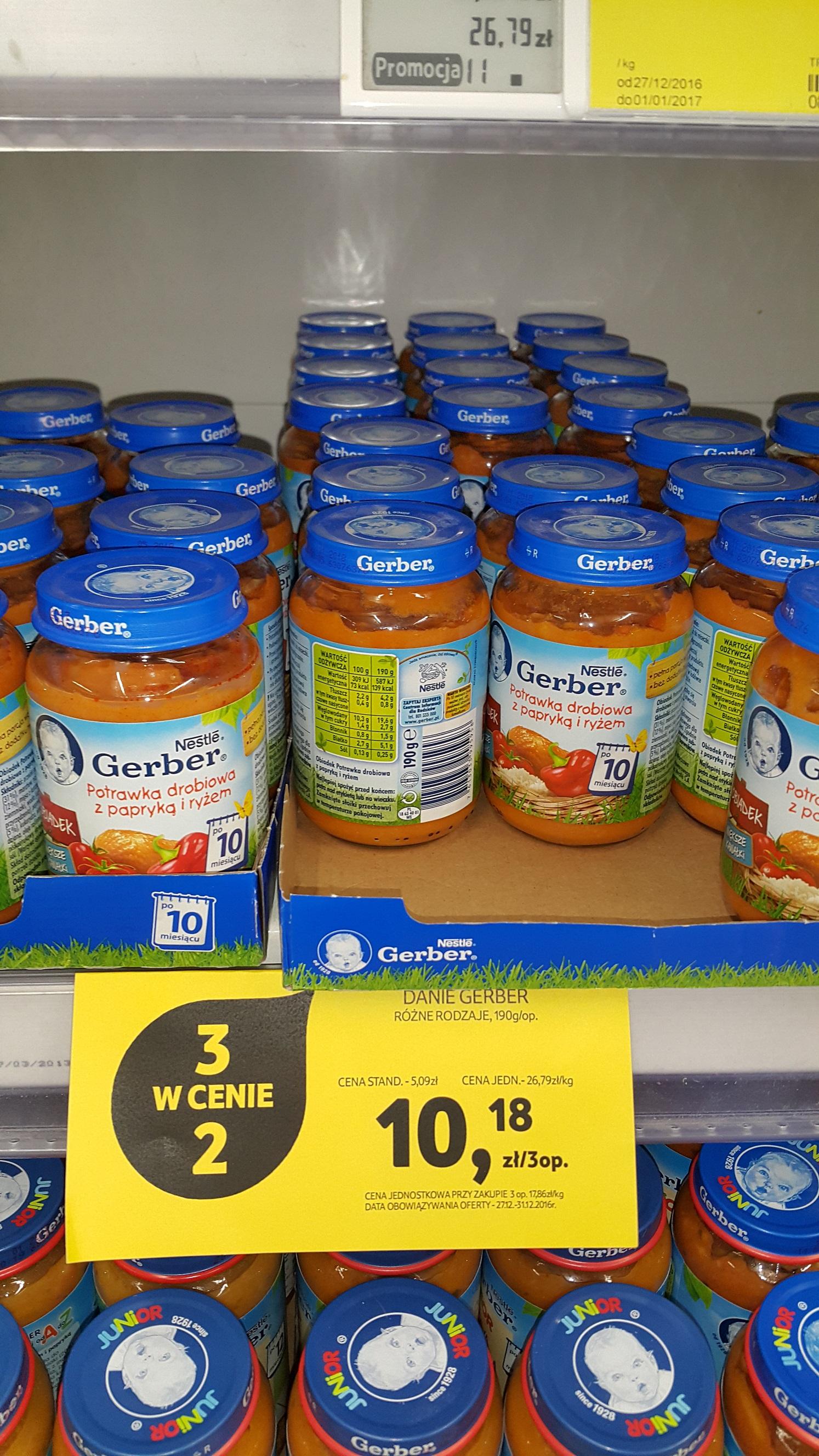 Gerber obiadki i zupki 190 gram 3 w cenie 2 Tesco
