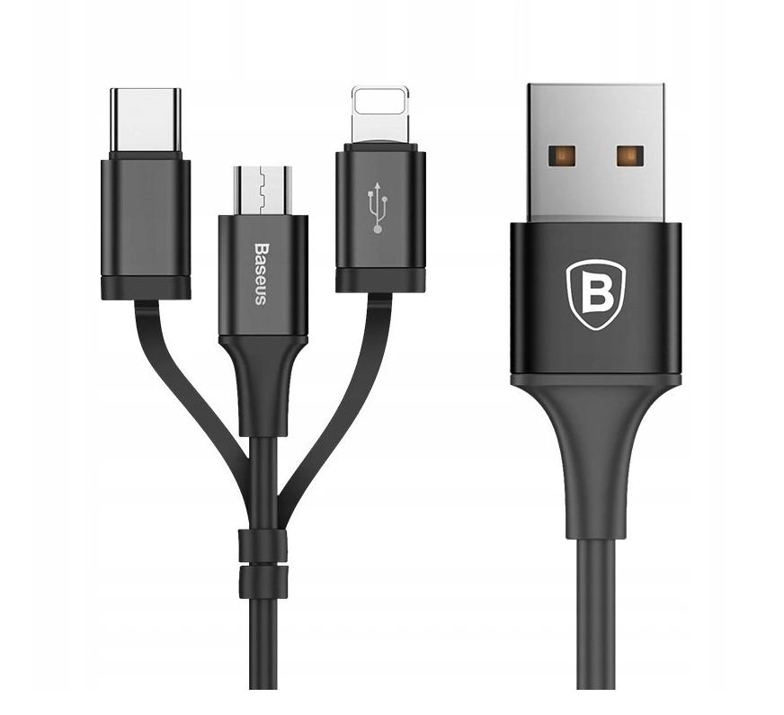 BASEUS - Kabel 3w1 - do iPhone   Micro USB   USB C