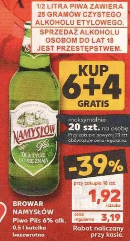 Piwo Namysłów 6+4 (1,92 zł/sztukę) @Kaufland