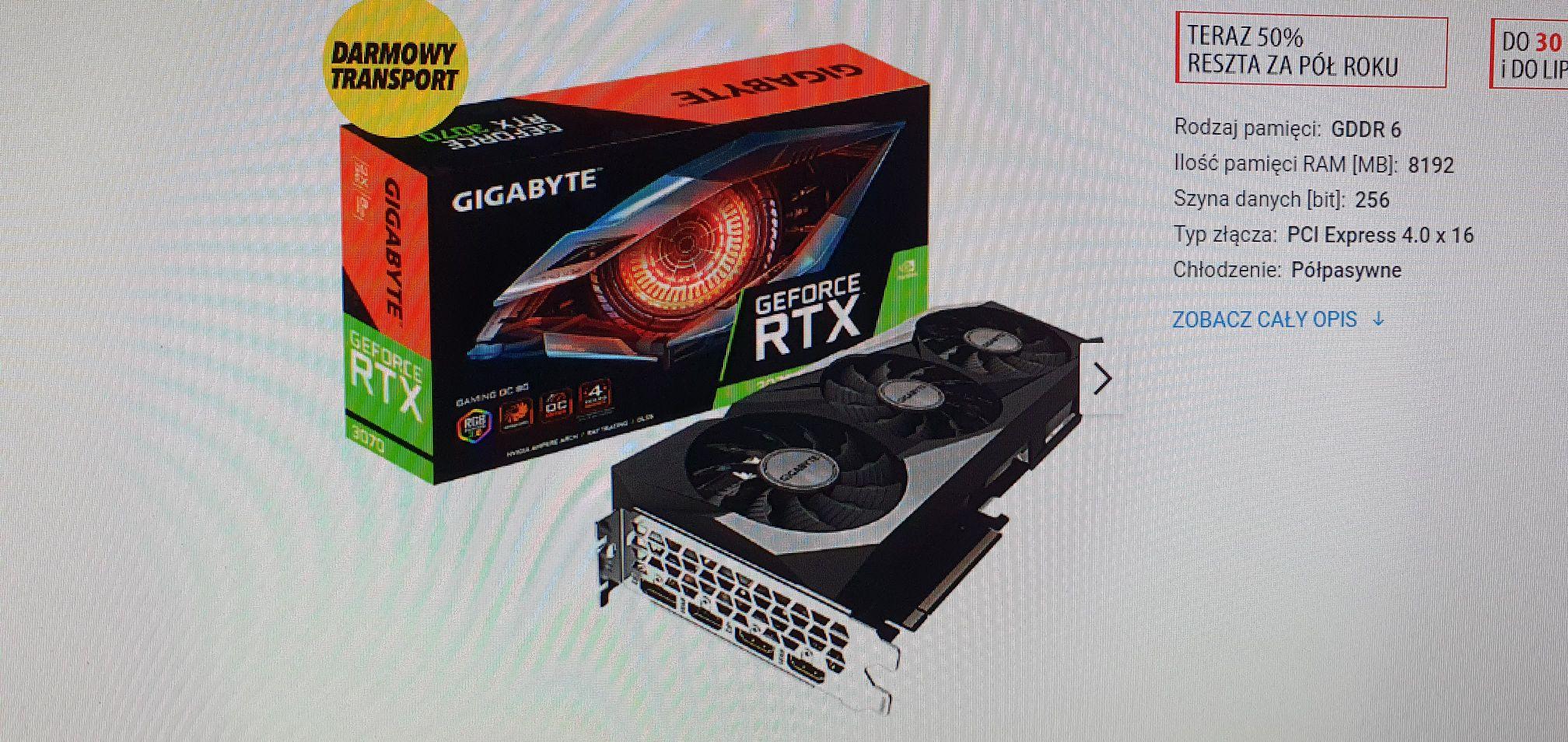 Gigabyte George RTX3070 Gaming OC 8GB DOSTĘPNA NA JUTRO !!!