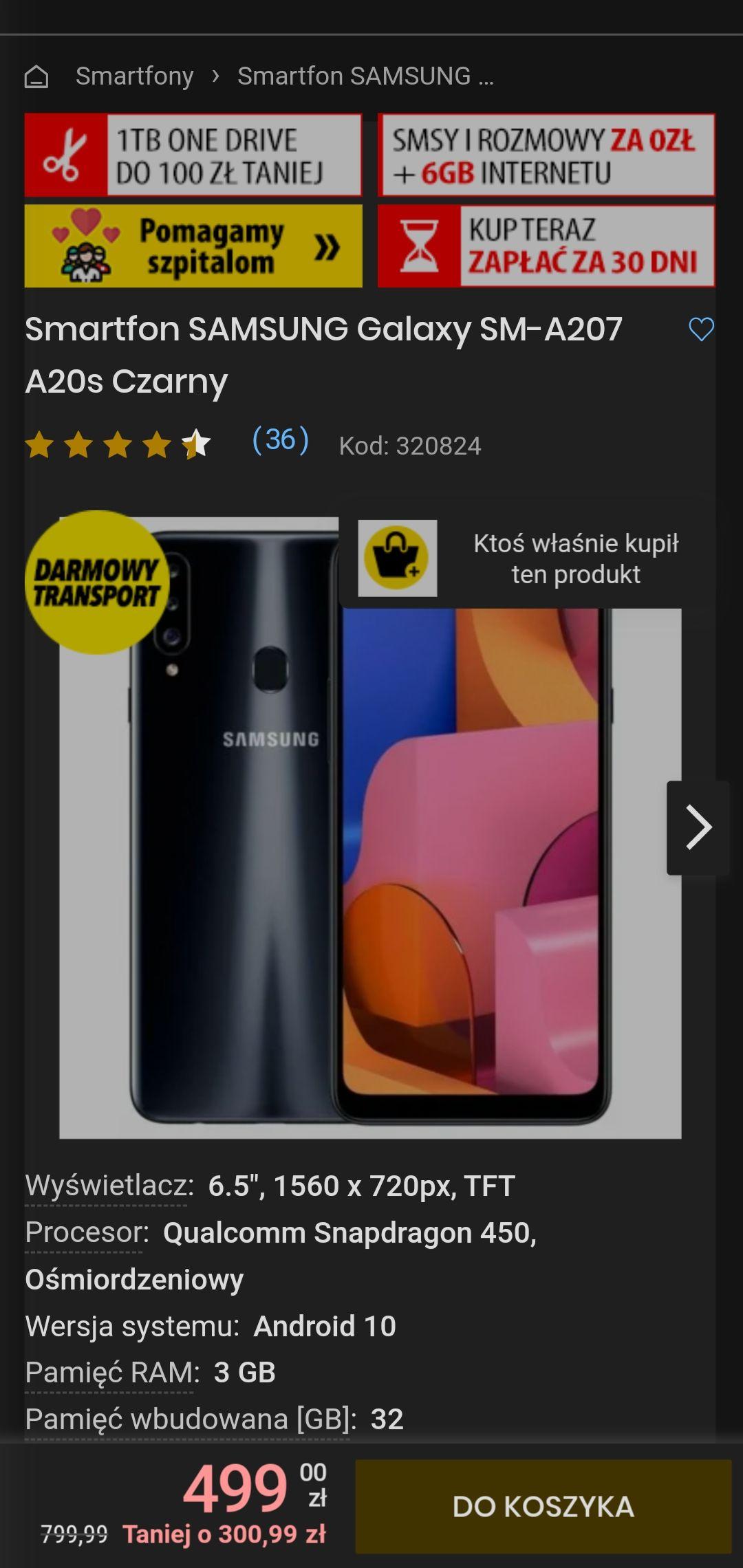 Smartfon Samsung a20s