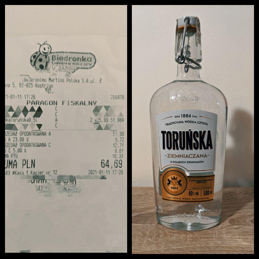 Wódka Toruńska Ziemniaczana w Biedronce za 25,99 0,5l