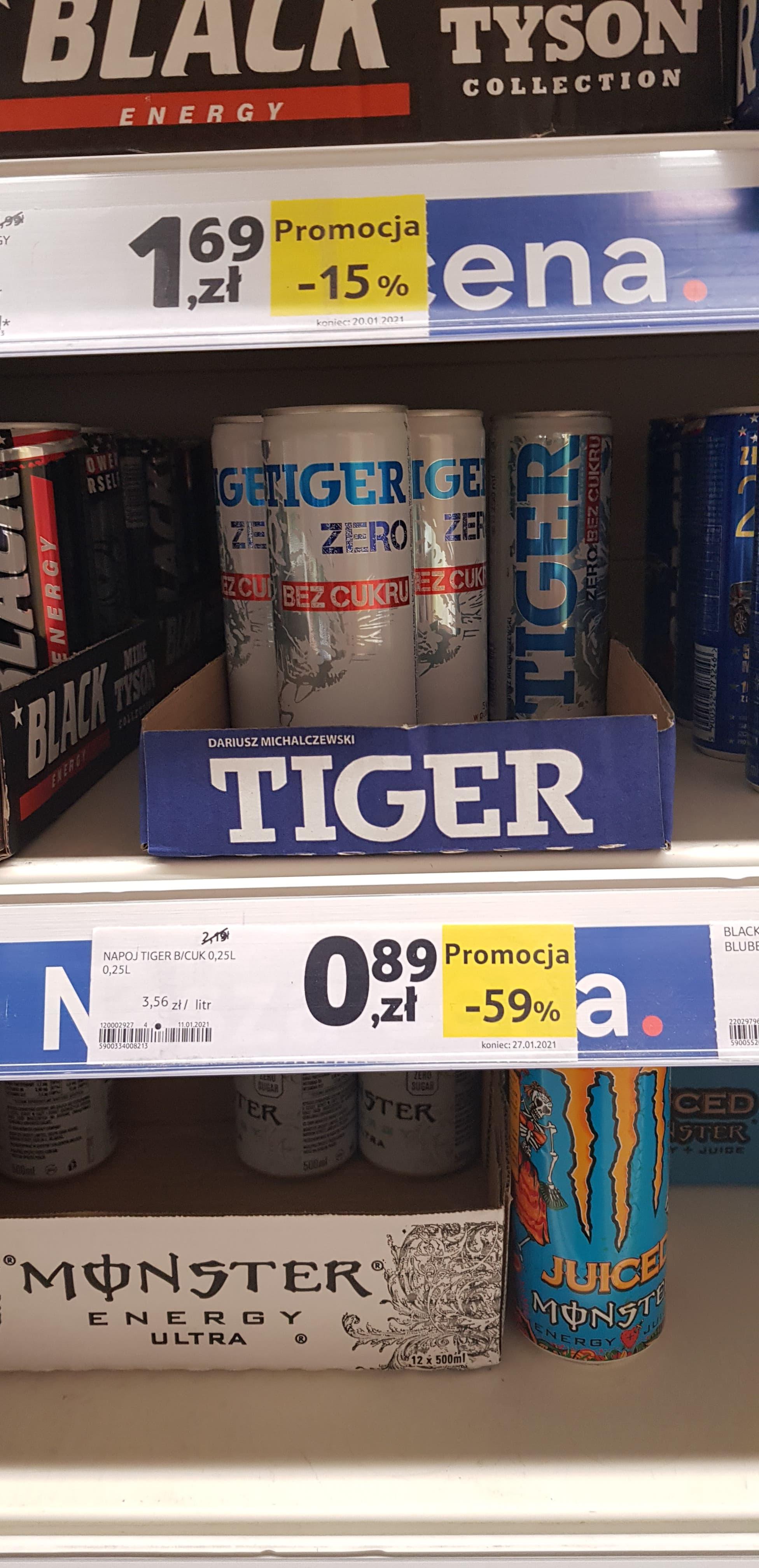 Tiger - napój energetyzujący (bez cukru) - Tesco Łódź, ul. Wyszyńskiego