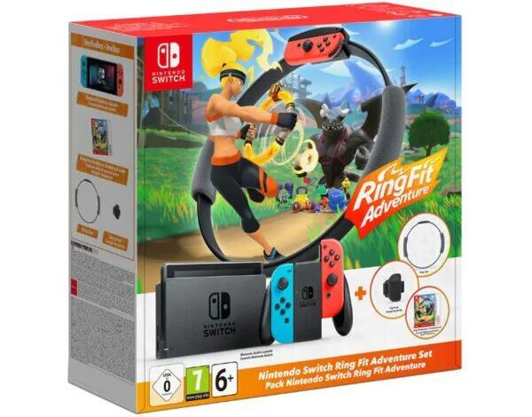 Konsola Nintendo Switch + Joy-Con Niebiesko-Czerwony + Ring Fit Adventure na mediamarkt