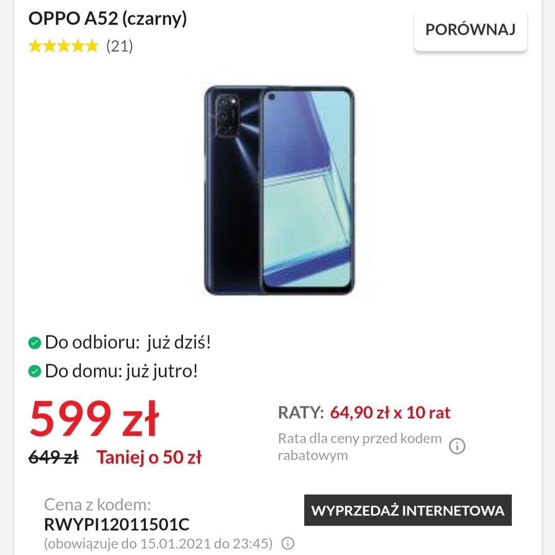 """Smartfon OPPO A52 6.5"""" NFC 4/64 (czarny) 5000mAh"""