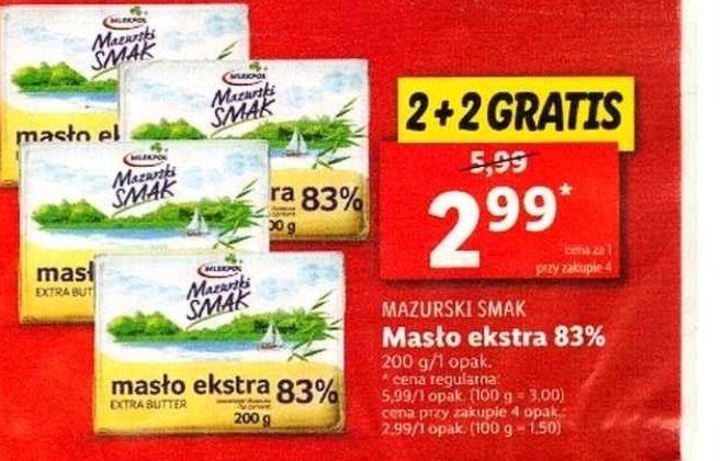 Masło ekstra 83% Mazurski smak przy zakupie 4szt. w Lidlu