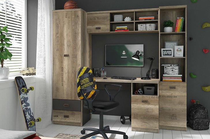 Młodzieżowa meblościanka Melton 210x188cm (regał, szafa, biurko i półka) @ BRW