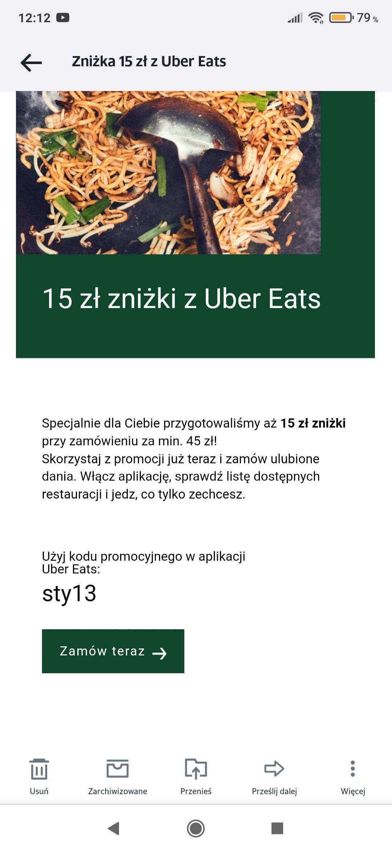 Uber Eats -15zł