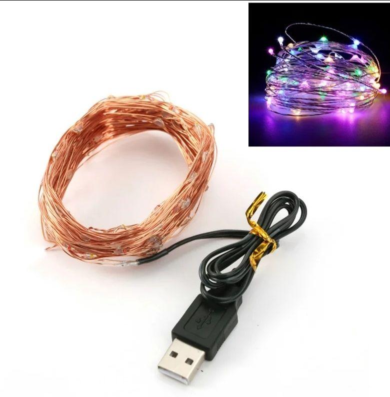 Lampki LED 5m 50 LED zasilane USB (1.45$)