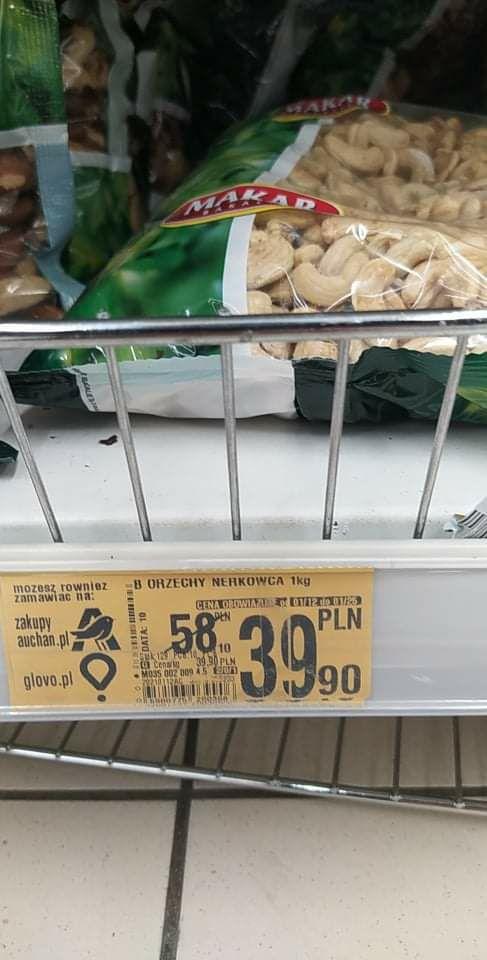 Auchan (ogólnopolska): Orzechy nerkowca 39,99 zł/kg