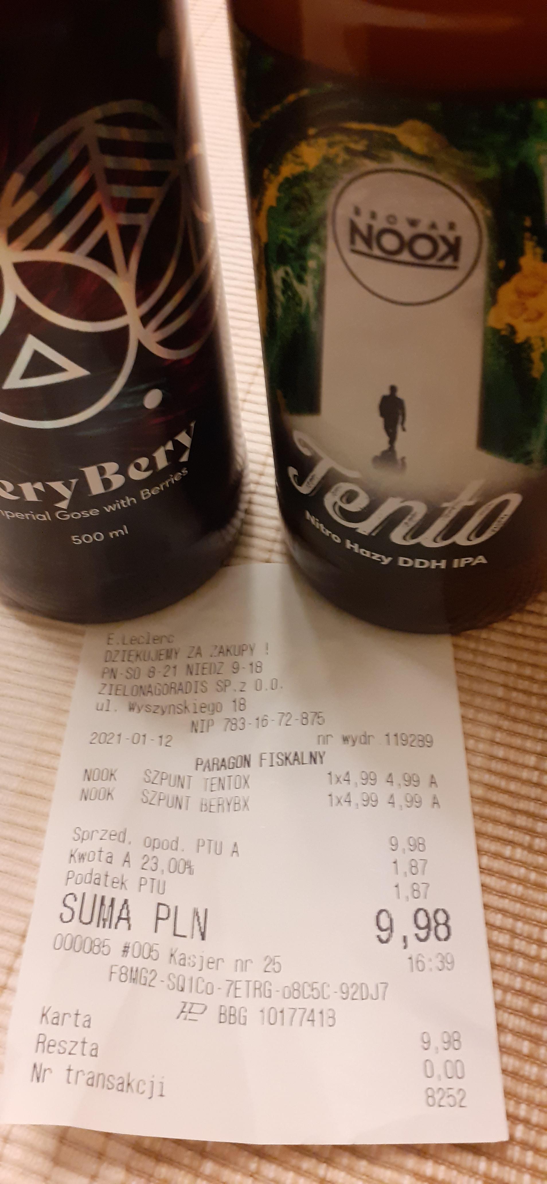 Piwo Bery Bery oraz Tento Leclerc Zielona Góra