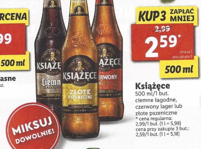 Piwo Książęce 0,5l 3 rodzaje przy zakupie 3 butelek @Lidl