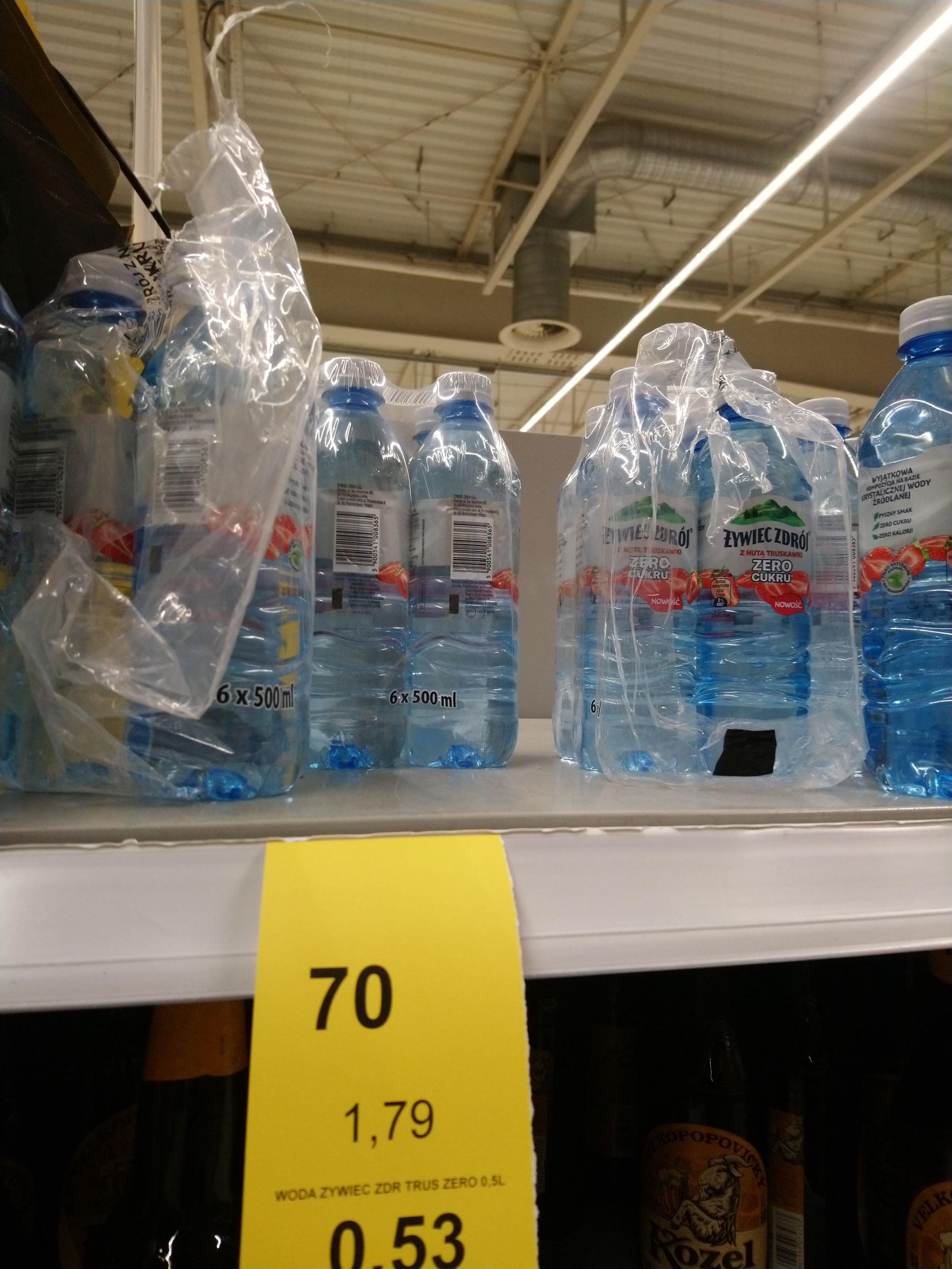 Woda żywiec truskawkowa 0.5L po 53 grosze. Tesco Świdnica