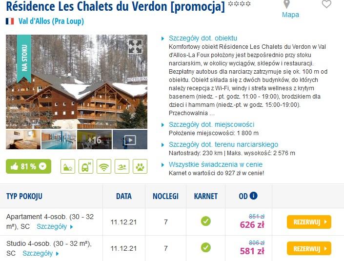 Narty od Grudnia 2021 do Marca 2022 . Studio dla 4 osób - 571 zł za osobe ( tydzień) z karanetem w Cenie Francja Alpy