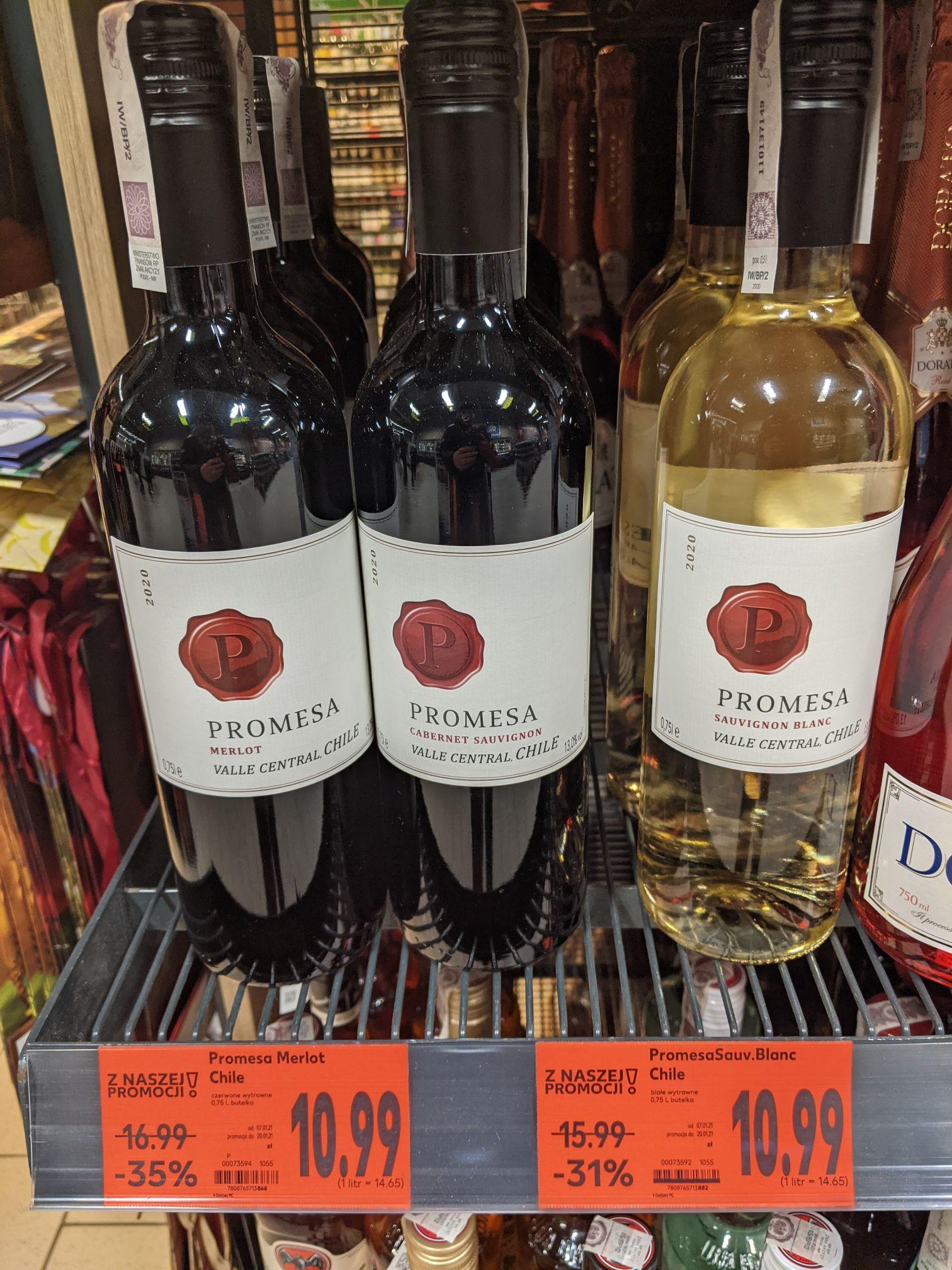 Wino Promesa Merlot Chile, białe i czerwone, wytrawne, 0,75L, Kaufland Dąbrowa Górnicza