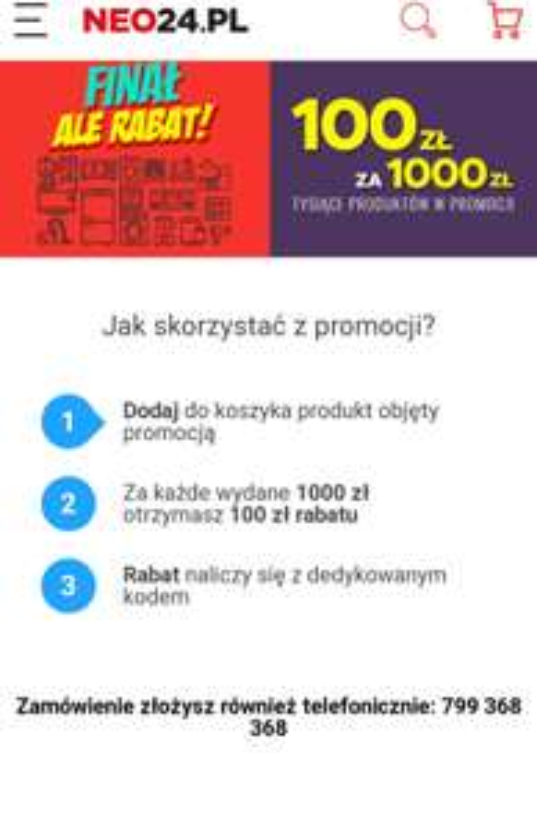 100 zł za wydane 1000 zł w neo24.pl