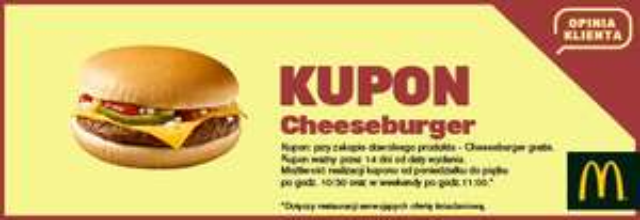 Cheeseburger gratis po wypełnieniu ankiety