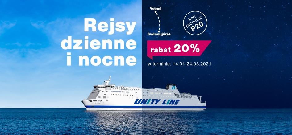 -20% na rejsy dzienne i nocne promami Polonia i Skania na trasie Świnoujście<->Ystad (Szwecja) @ Unity Line