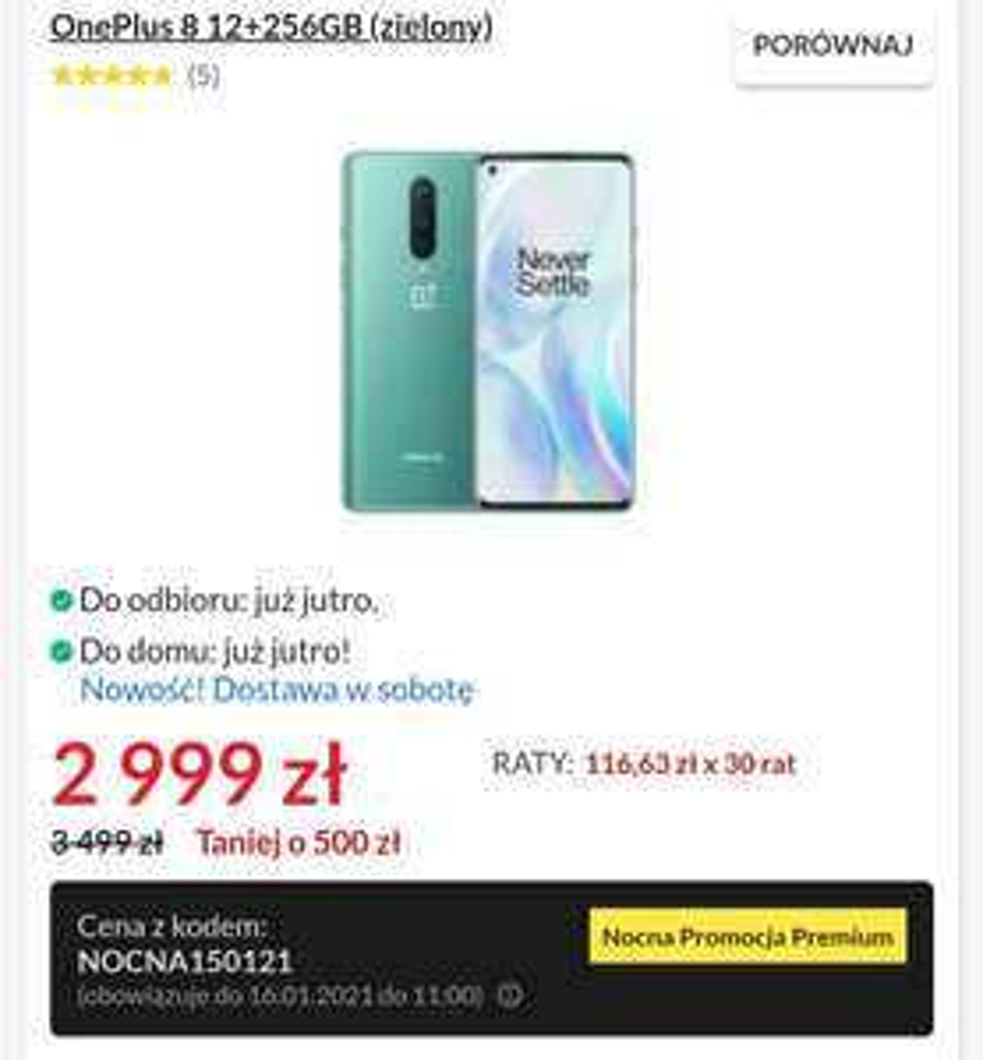 smartfon OnePlus 8 12/256GB (zielony)