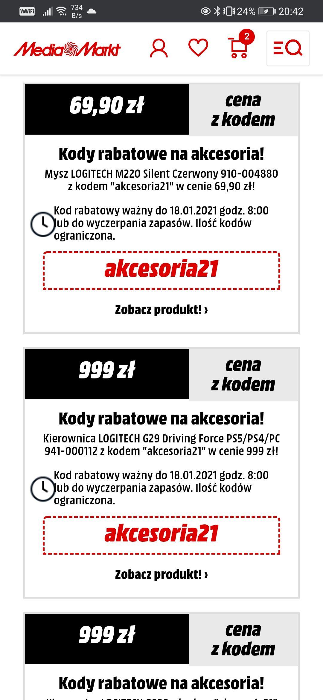 Kod promocyjny na MediaMarkt: Logitech G29, G920 za 999zł (możliwe 986zł), JBL Free II TWS 299zł, Logitech Z333 199zł (zbiorcza)