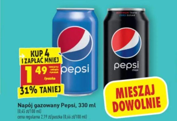 Pepsi w puszce 1,49 zł przy zakupie 4szt. Biedronka