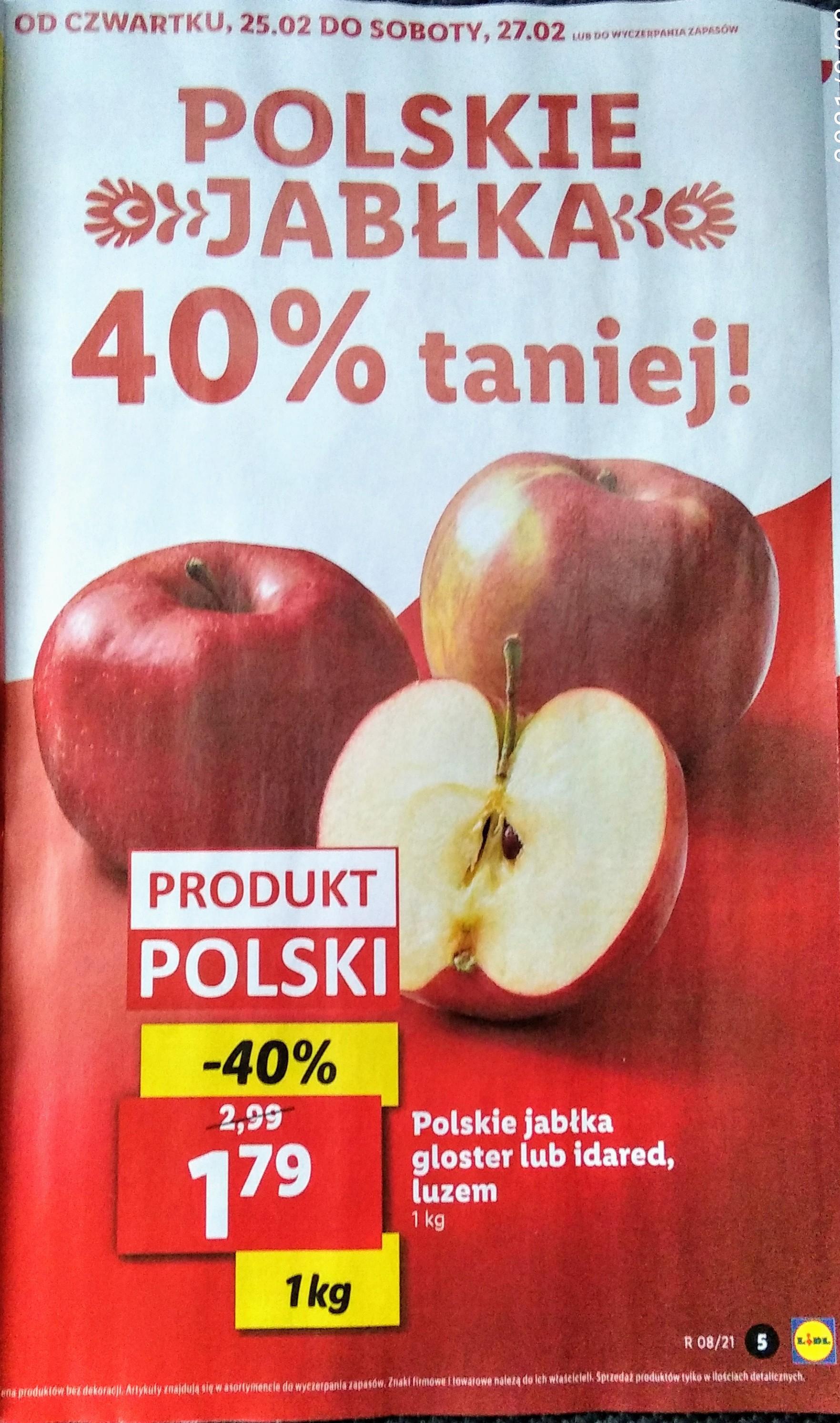 Polskie jabłka czerwone, Idared lub Gloster , cena za 1 kg w Lidl