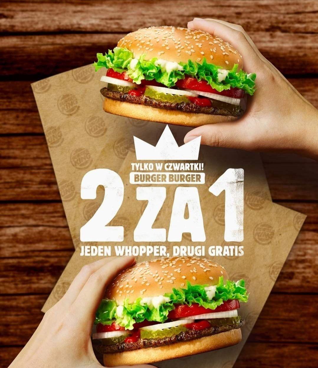 Whopper 2 za 1 w Burger King w czwartki do końca lutego