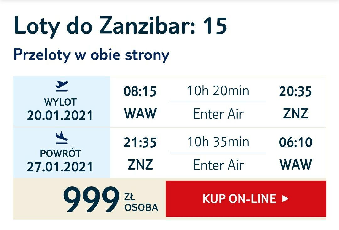 Lot na Zanzibar 20-21,01,2021