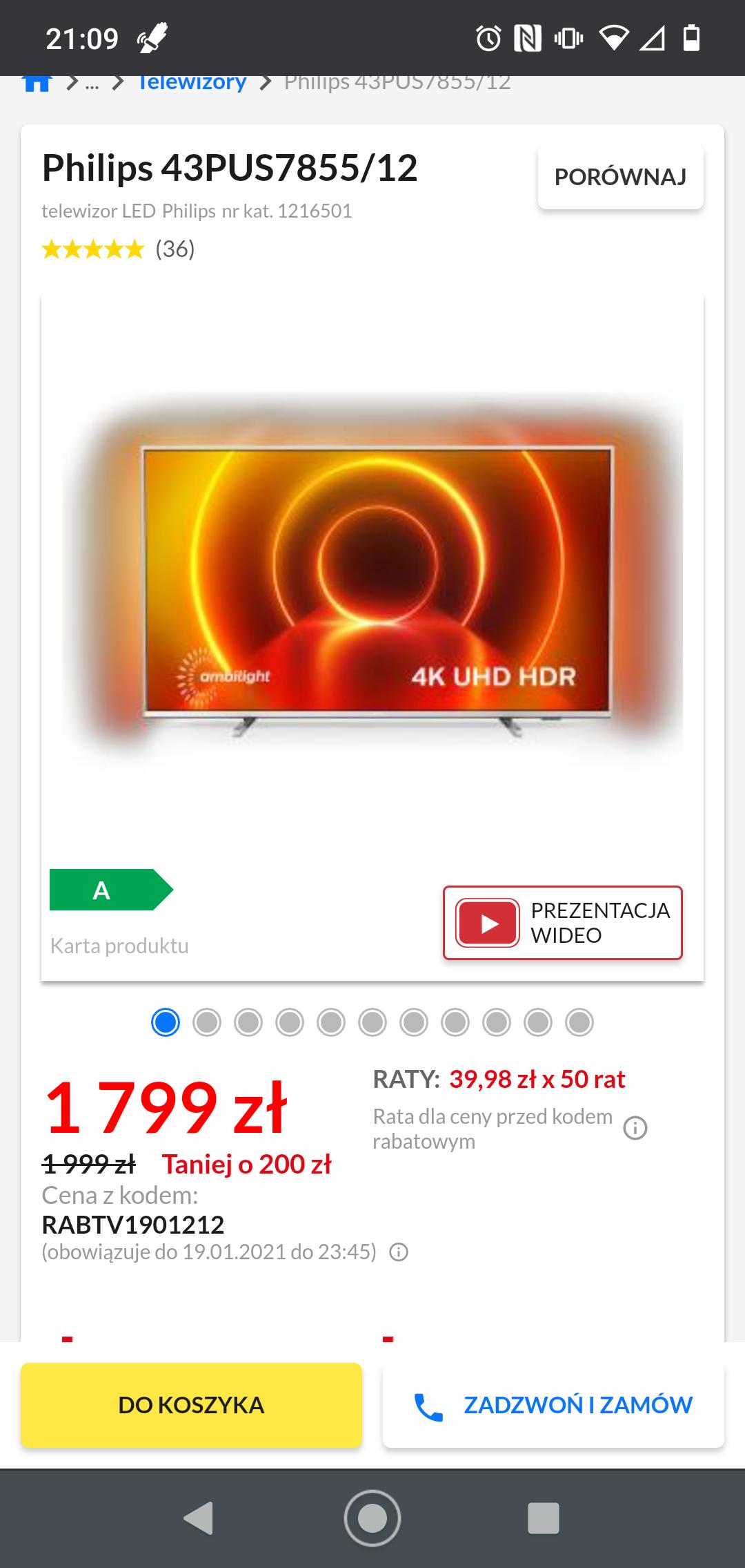 Telewizor Philips 43PUS7855/12 RTV euro agd