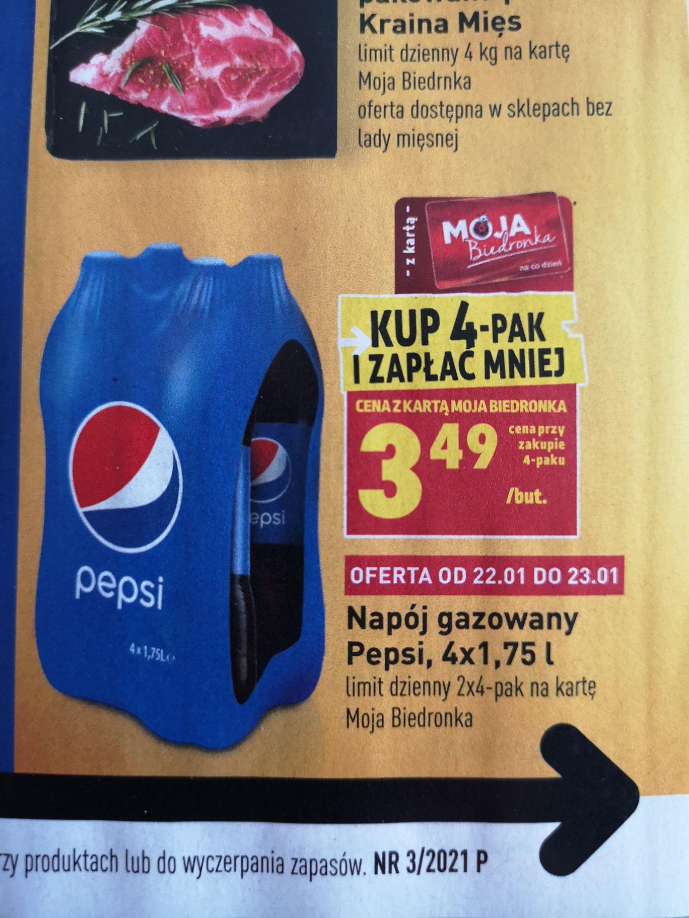 Pepsi 1,75l za 3,49zł przy zakupie 4-paku.