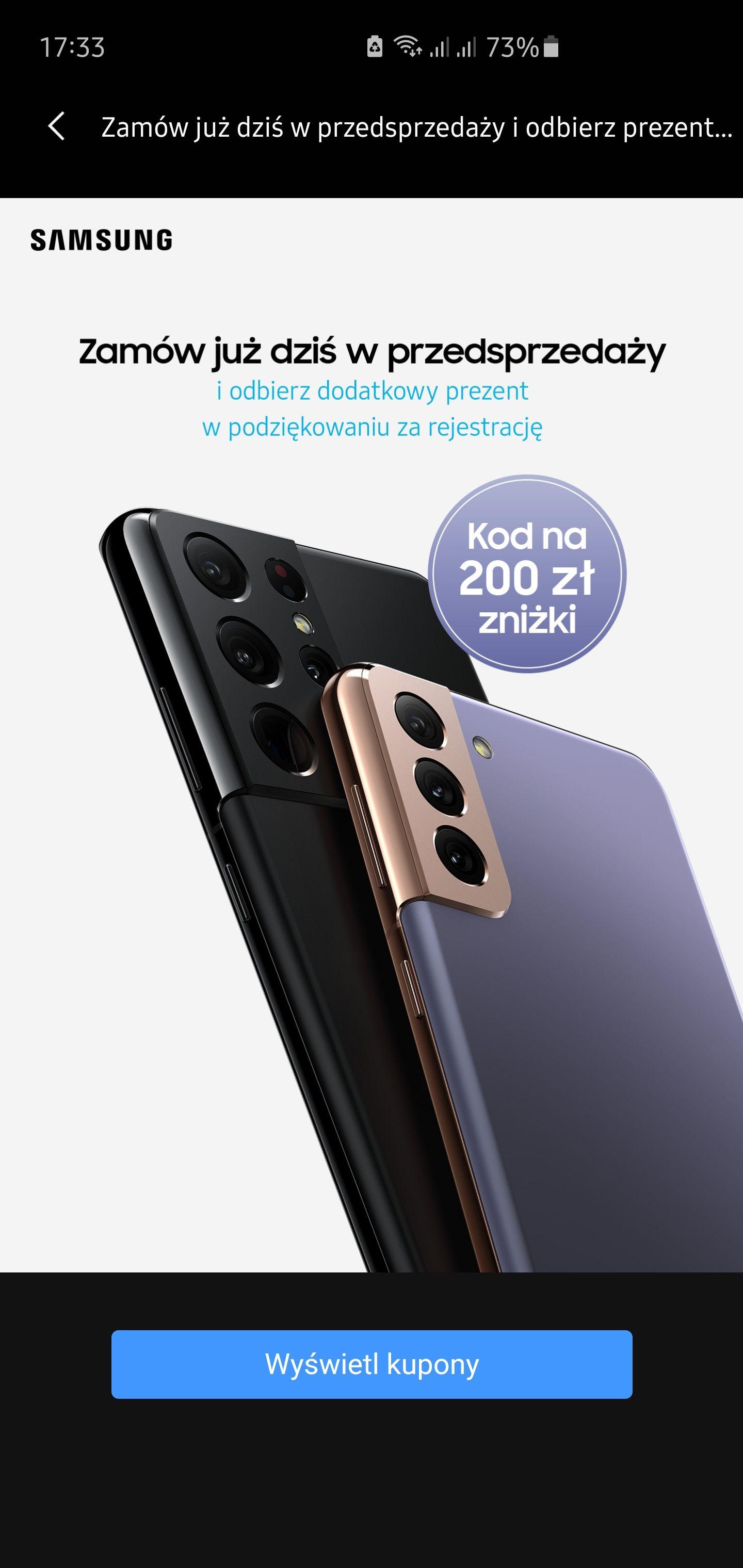 Zniżka 200 zł na zakup Samsung s21 - w aplikacji Samsung Members