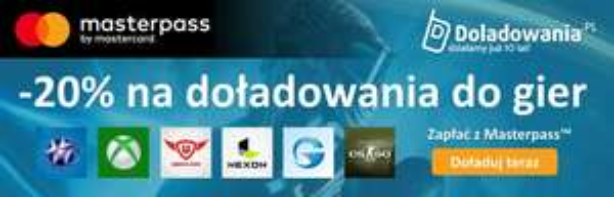 Gry: doładowania i abonamenty 20% taniej z MasterPass (telefony, PS+,Xbox Live i inne!) @ Doladowania.pl