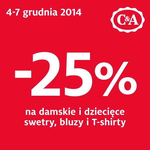 25% rabatu na wybrane produkty @ C&A