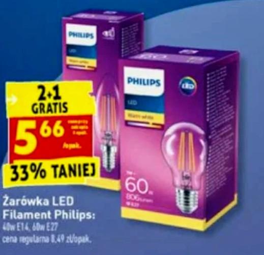 Żarówka LED Philips Filament 4,3w = 40w E14 lub 7w = 60w E27, 2+1 gratis, w Biedronka