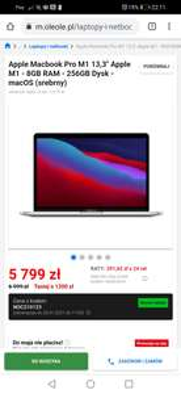 "Apple Macbook Pro M1 13,3"" Apple M1 - 8GB RAM - 256GB Dysk - macOS (srebrny)"