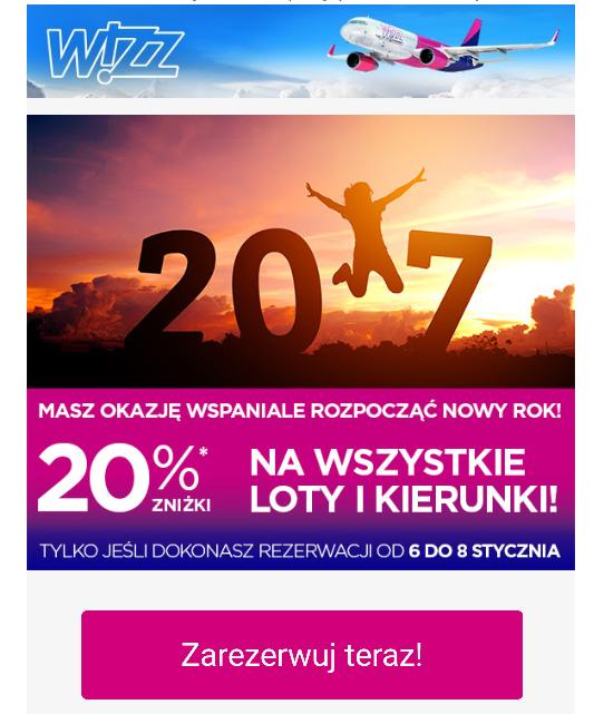 Wizz Air 20% na wszystkie loty!