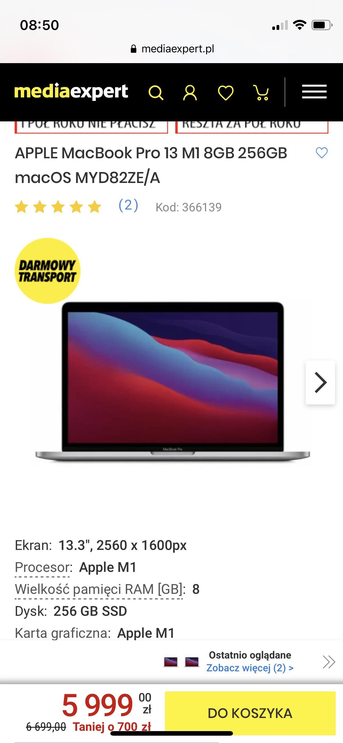 APPLE MacBook Pro 13 M1 8GB 256GB macOS MYD82ZE/A